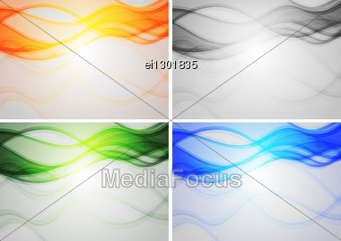 Set Of Abstract Backgrounds With Smoky Waves Stock Photo
