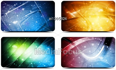 Set Of Abstract Colourful Cards. Vector Background Stock Photo