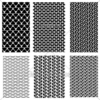 Set Of Abstract Geometric Ornaments. Decorative Retro Backgrounds Stock Photo