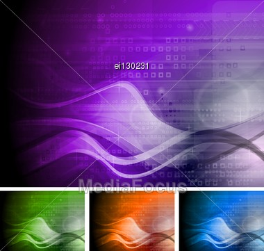 Set Of Abstract Tech Backgrounds With Waves. Stock Photo