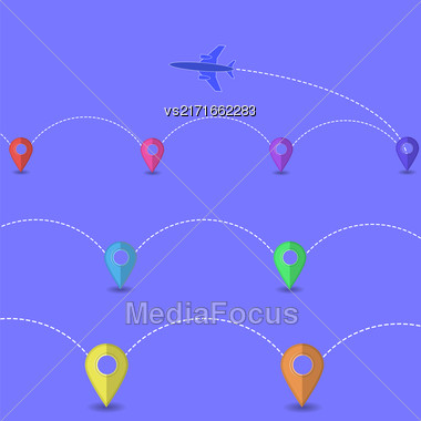 Set Of Airplane Icon Isolated On White Background. Around The World Travelling By Plane. Summer Vacation Stock Photo