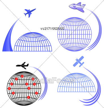 Set Of Airplane Icons Isolated On White Background. Around The World Travelling By Plane. Summer Vacation Stock Photo