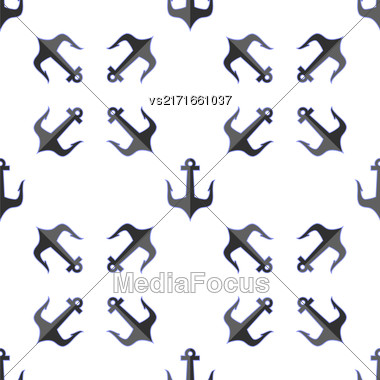 Set Of Anchor Isolated On White Background. Anchor Seamless Pattern. Marine Design Stock Photo