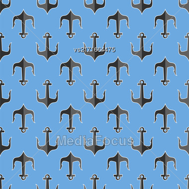 Set Of Anchor Isolated On White Background. Anchor Seamless Pattern Stock Photo