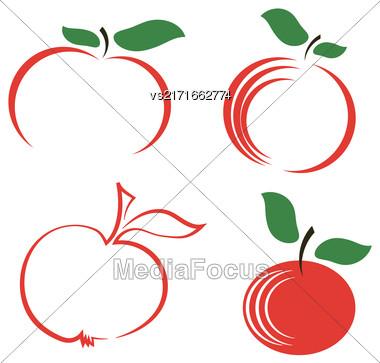 Set Of Apple Icons Isolated On White Background Stock Photo