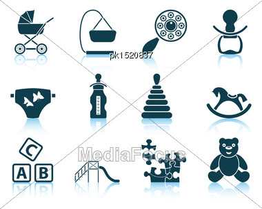 Set Of Baby Icons. EPS 10 Vector Illustration Without Transparency Stock Photo