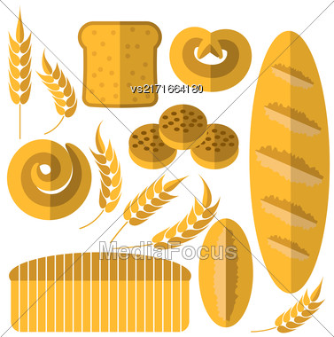 Set Of Bakery Products Icons Isolated On White Background. Bread Icons Stock Photo