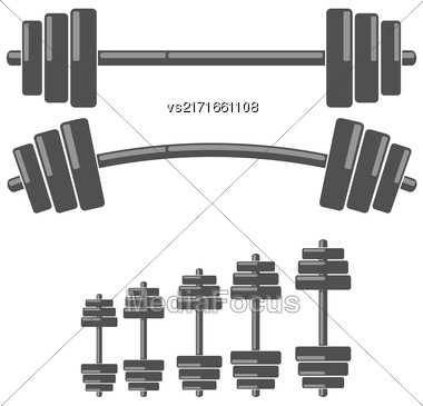 Set Of Barbells Isolated On White Background Stock Photo