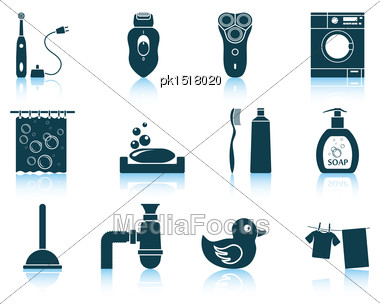 Set Of Bathroom Icons. EPS 10 Vector Illustration Without Transparency Stock Photo