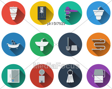 Set Of Bathroom Icons In Flat Design. EPS 10 Vector Illustration With Transparency Stock Photo