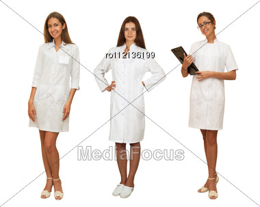 Set Of Beauty Doctor Women Isolated On A White Background. Stock Photo