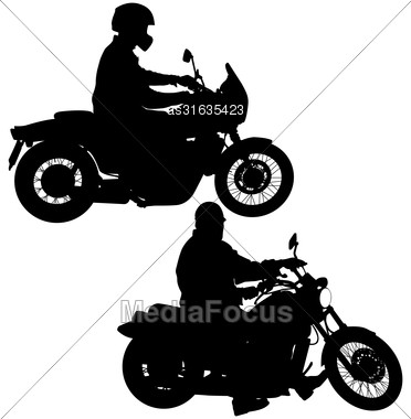 Set Of Biker Motocross Silhouettes, Vector Illustration Stock Photo