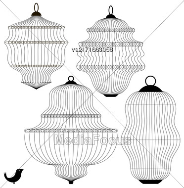 Set Of Bird Cages Isolated On White Background Stock Photo