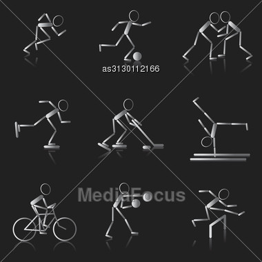 Set Of Black And White Sport Icons Stock Photo