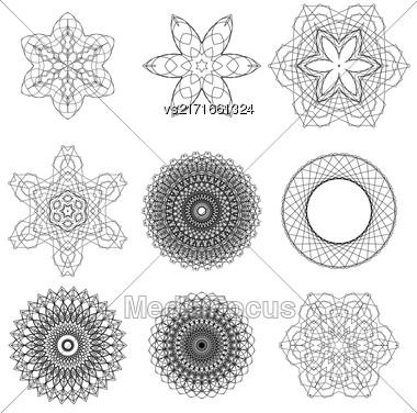 Set Of Black Circle Ornaments Isolated On White Background Stock Photo