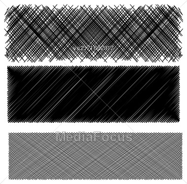 Set Of Black Diagonal Strokes Patterns Isolated On White Background Stock Photo