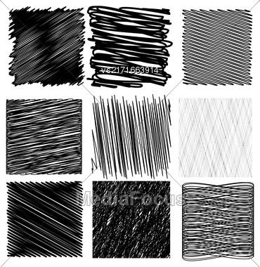 Set Of Black Diagonal Strokes Patterns Isolated On White Background Stock Photo
