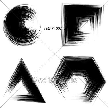 Set Of Black Grunge Shapes Isolated On White Background Stock Photo