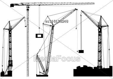 Set Of Black Hoisting Cranes Isolated On White Background. Vector Illustration Stock Photo
