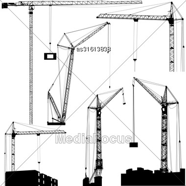 Set Of Black Hoisting Cranes Isolated On White Background. Vector Illustration Stock Photo