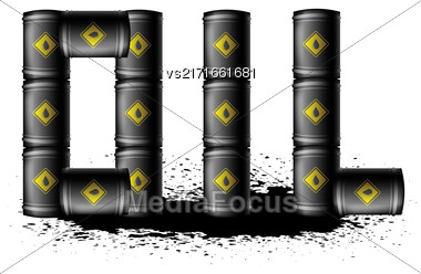 Set Of Black Metal Oil Barrels Isolated On White Background. Oil Splatter Stock Photo
