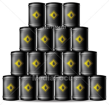 Set Of Black Metal Oil Barrels Isolated On White Background Stock Photo