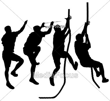 Set Black Silhouette Rock Climber On White Background Stock Photo