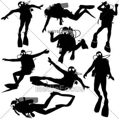 Set Black Silhouette Scuba Divers. Vector Illustration Stock Photo