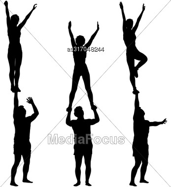 Set Black Silhouette Two Acrobats Show Stand On Hand. Vector Illustration Stock Photo