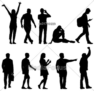 Set Black Silhouettes Of Beautiful Man And Woman On White Background. Vector Illustration Stock Photo