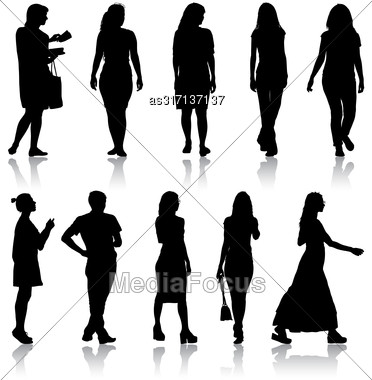Set Black Silhouettes Of Beautiful Man And Woman On White Background Stock Photo