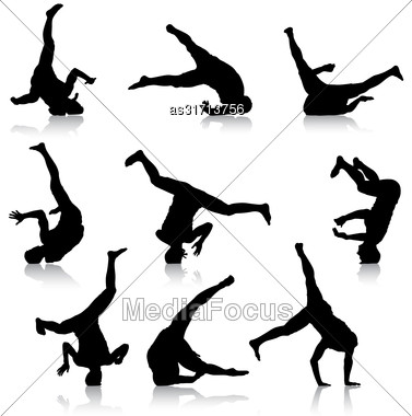 Set Black Silhouettes Breakdancer On A White Background Stock Photo