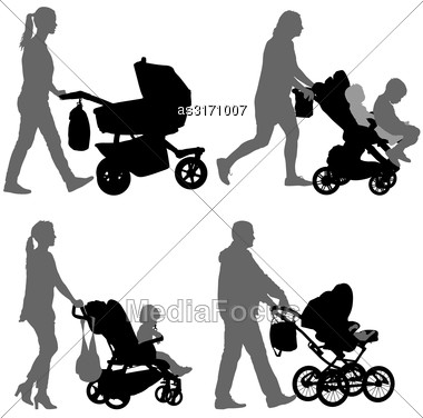 Set Black Silhouettes Family With Pram On White Background. Vector Illustration Stock Photo