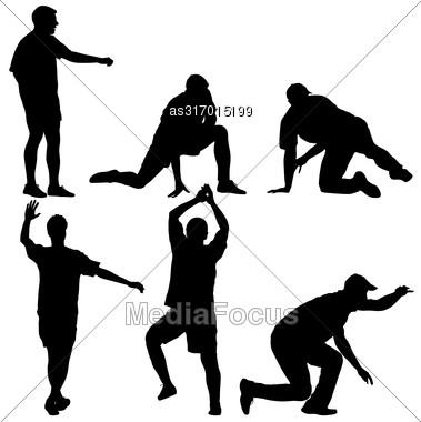 Set Black Silhouettes Man On White Background. Vector Illustration Stock Photo