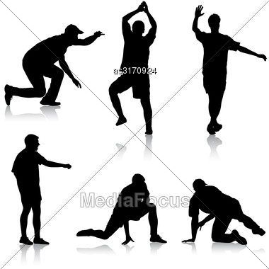 Set Black Silhouettes Man On White Background. Vector Illustration Stock Photo