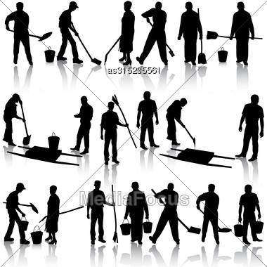 Set Of Black Silhouettes Of Men And Women With Shovels And Buckets. Vector Illustration Stock Photo