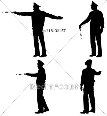 Set Black Silhouettes Police Officer With A Rod On White Background. Vector Illustration Stock Photo