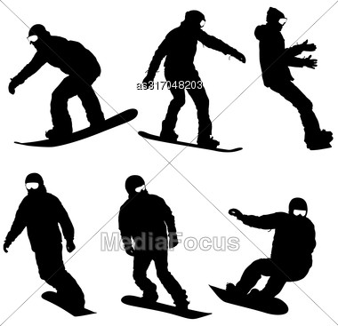 Set Black Silhouettes Snowboarders On White Background. Vector Illustration Stock Photo