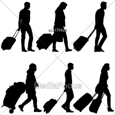 Set Black Silhouettes Travelers With Suitcases On White Background. Vector Illustration Stock Photo