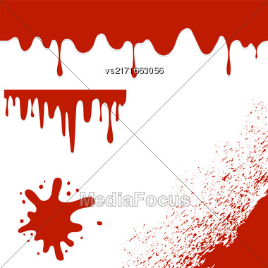 Set Of Blood Splatters Isolated On White Background. Red Blood Blobs And Splatters. Bloody Angle. Bloody Pattern Stock Photo