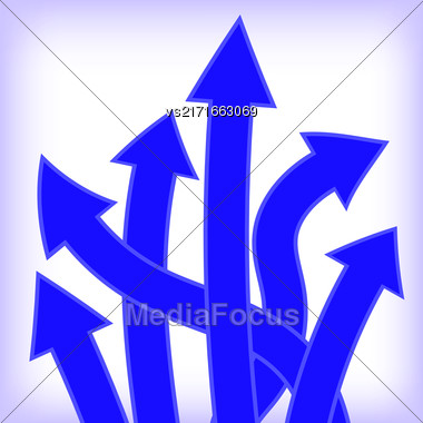 Set Of Blue Arrows On White Background Stock Photo