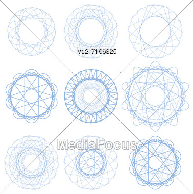 Set Of Blue Circle Ornaments Isolated On White Background Stock Photo
