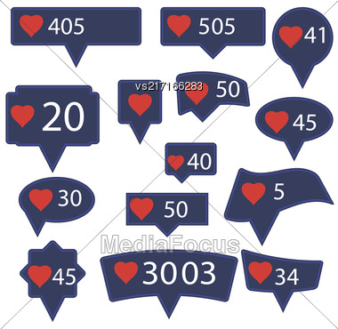 Set Of Blue Icons With Red Heart Isolated On White Background Stock Photo