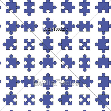 Set Of Blue Pazzle Isolated On White Background. Seamless Jigsaw Pattern Stock Photo