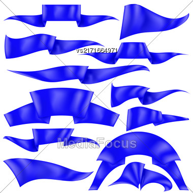 Set Of Blue Ribbons Isolated On White Background. Flag Collection Stock Photo