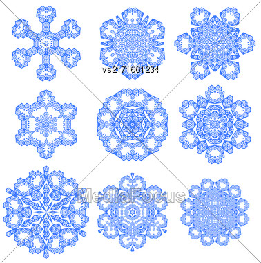 Set Of Blue Snowflakes Isolated On White Background Stock Photo