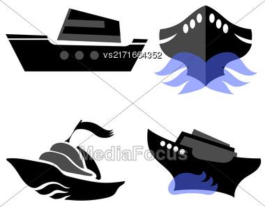 Set Of Boat Icons Isolated On White Background Stock Photo