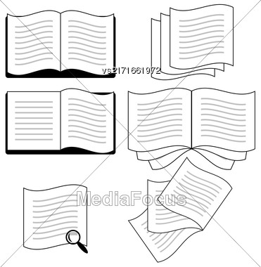 Set Of Book Icons Isolated On White Background Stock Photo