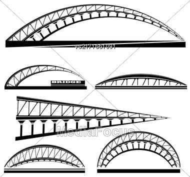 Set Of Bridge Icons Isolated On White Background. Bridge Logo Stock Photo