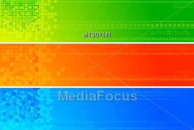 Set Of Bright Tech Banners - Eps 10 Stock Photo